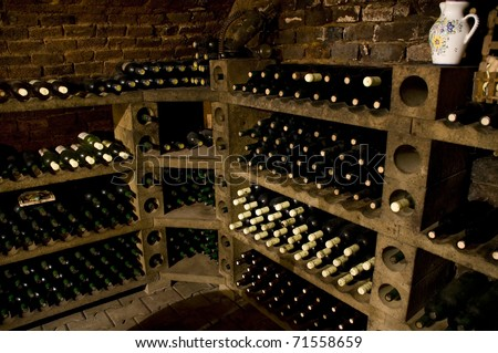 Bottles of high quality wine in the traditional wine cellar - stock photo