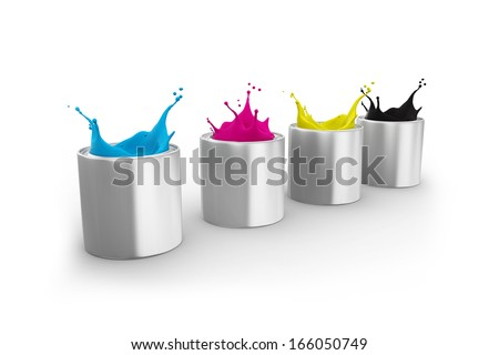 bottles of ink in cmyk colors isolated on white background.