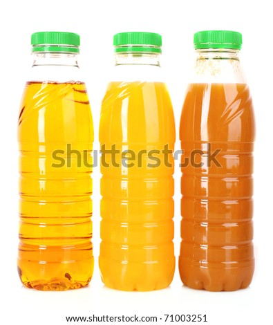 bottles of juice on a white background - stock photo
