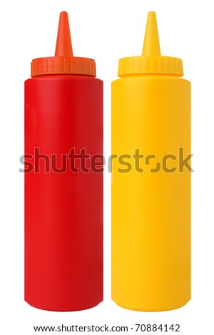 Bottles of Ketchup and Mustard. Isolated on White - stock photo