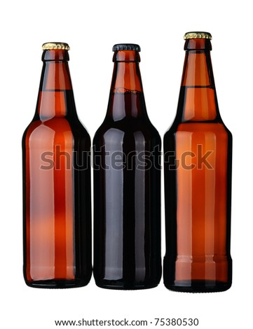 Bottles of lager and dark beer from brown glass, isolated on a white background. - stock photo