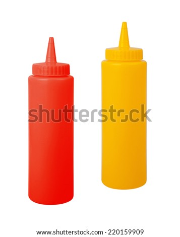 bottles of mustard and ketchup - stock photo