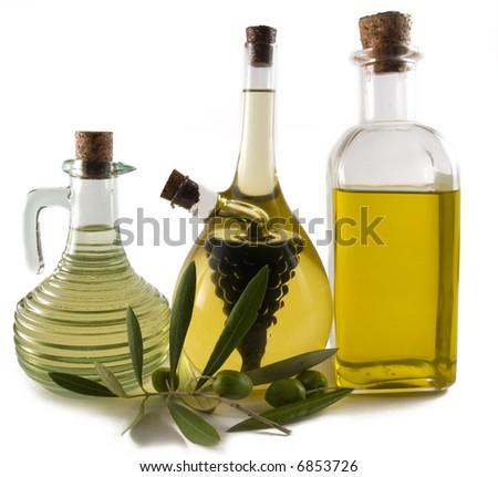 Bottles of olive oil/vinegar - stock photo