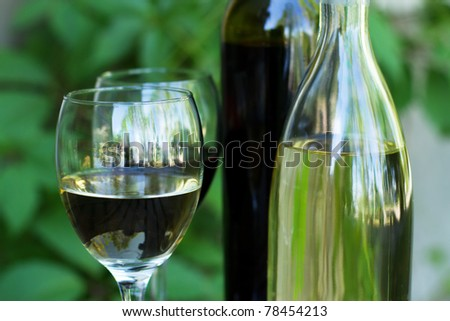 Bottles of red and white wine with grapes, in natural light