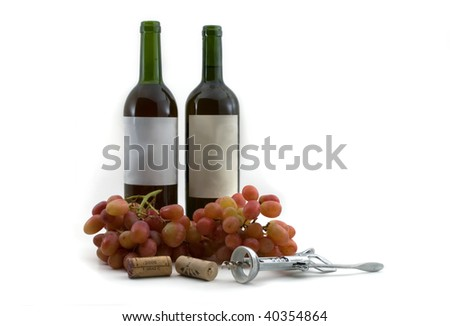 Bottles of red wine, grapes, corks and cork screw. High resolution image. Subject isolated on white background, with copy space.