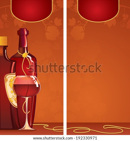 Bottles of red wine with a gold label and a glass with red wine for restaurant menu - stock photo