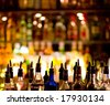 Bottles of spirits and liquor at the bar - stock photo