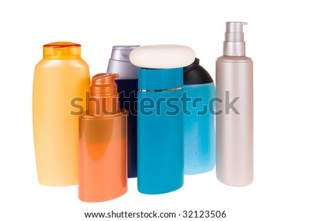 bottles of the cosmetic isolated on white background - stock photo