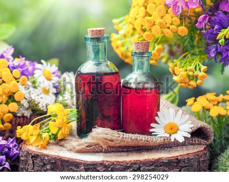 Bottles of tincture or cosmetic product and healing herbs and wild flowers. Herbal medicine. - stock photo