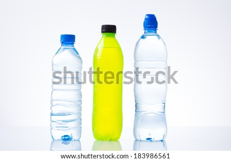 Bottles of water and energy drink - stock photo
