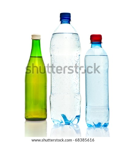 Bottles of water isolated on the white - stock photo