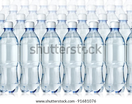 Bottles of water on the white - stock photo