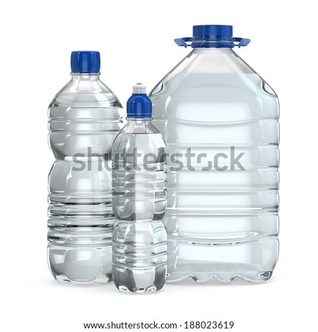 Bottles of water various sizes on white isolated background. 3d - stock photo