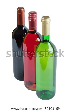 Bottles of white, pink and red wine isolated over white background - stock photo