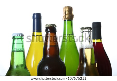 bottles of wine and beer - stock photo