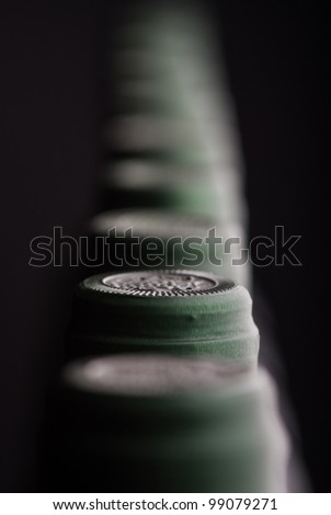 Bottles of wine from the top with shallow depth of field