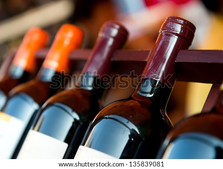 Bottles of wine shot with limited depth of field.