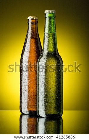 Bottles with beer - stock photo