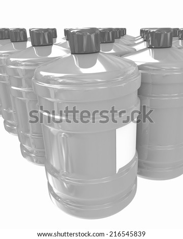 Bottles with clean blue water on a white background - stock photo