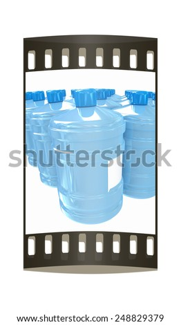 Bottles with clean blue water on a white background. The film strip - stock photo