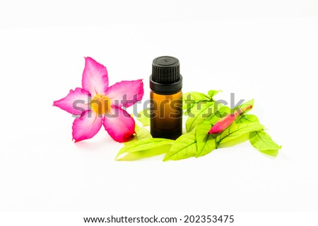 bottles with essence oil and flower isolated on white - stock photo