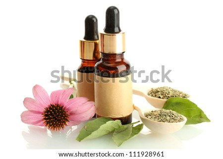 bottles with essence oil and purple echinacea , isolated on white - stock photo