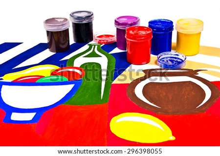Bottles with gouache paints for artistic paintings.Original artistic painting of still life on the background. - stock photo