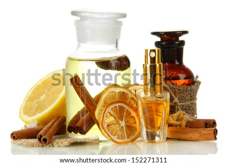 Bottles with ingredients for the perfume, isolated on white - stock photo