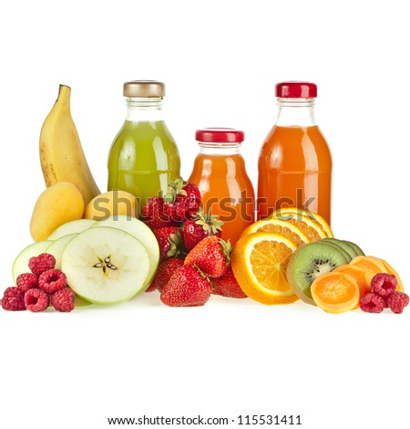 Bottles with juice fruits isolated on white - stock photo