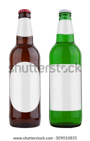 Bottles with label, isolated on white background - stock photo