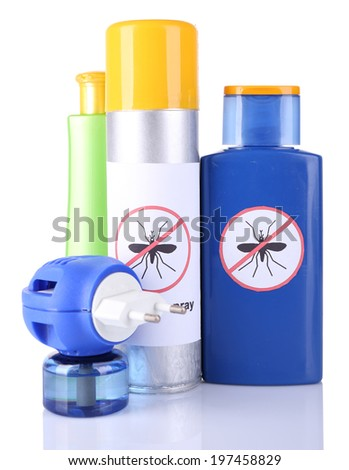 Bottles with mosquito repellent cream and fumigator, isolated on white - stock photo