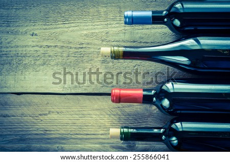 Bottles with red wine - stock photo