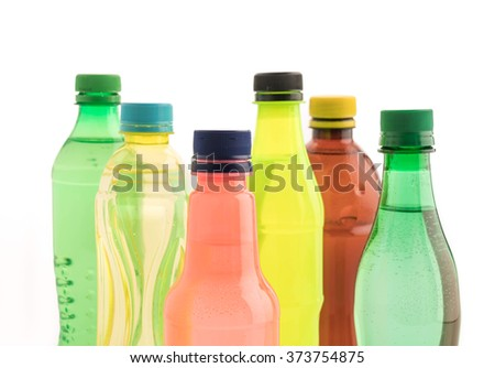 Bottles with soft drink onwhite background - stock photo