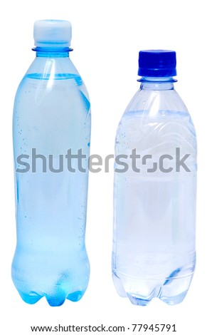bottles with water isolated on white - stock photo