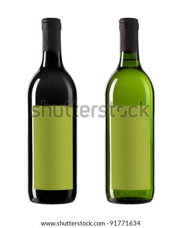 bottles with whine isolated on white