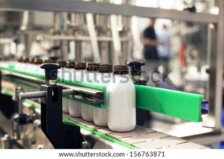 Bottling line - stock photo