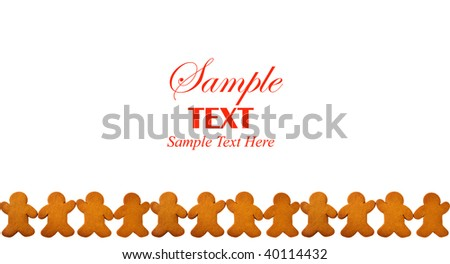 Bottom border of Gingerbread Men holding hands over white background with copy space for text. - stock photo