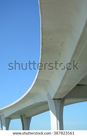 bottom of a large bridge - stock photo