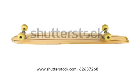 Bottom of old wooden long skate board - stock photo