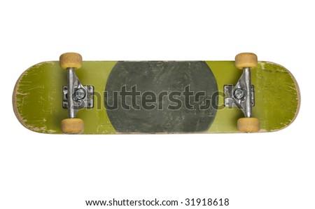 Bottom of skateboard isolated on white background - stock photo