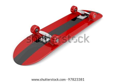 Bottom of skateboard on white background - stock photo