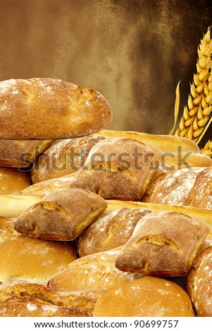 bottom of the bread with grilled bread - stock photo
