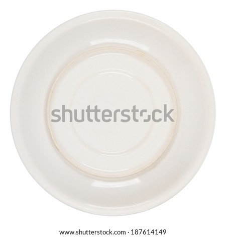 Bottom side of plate isolated on white background - stock photo