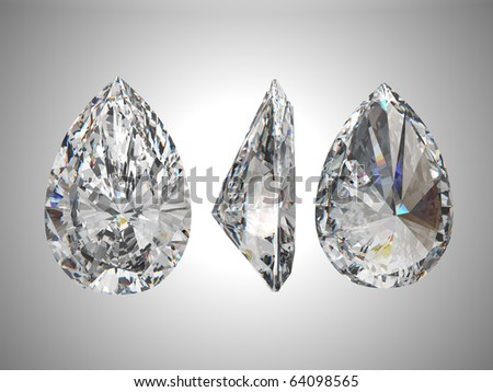 Bottom, Top, and side views of pear diamond. Over grey - stock photo