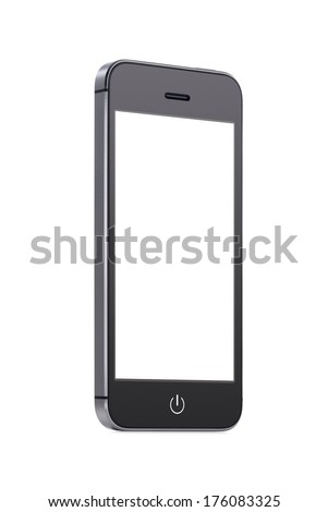 Bottom up view of rotated at a slight angle black modern mobile smart phone with blank screen isolated on white background. High quality. - stock photo