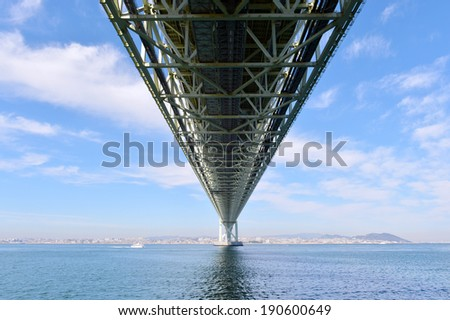 Bottom view of akashi Kaikyo bridge -2 - stock photo