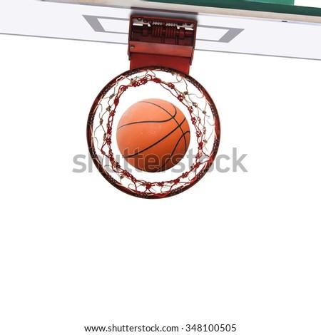 Bottom view of Basketball field goal with Basketball ball - stock photo