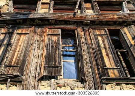 Bottom view of historical old and abandoned wooden and stone house of Yoruk Village in Safranbolu, Karabuk.