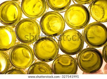 Bottoms of empty glass bottles  - stock photo