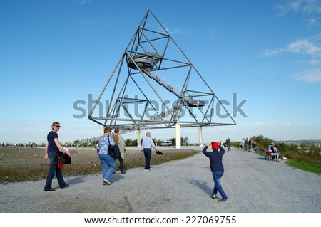 BOTTROP, GERMANY - 19 OCTOBER 2014 Famous Tetraeder on a coal mining tip - stock photo